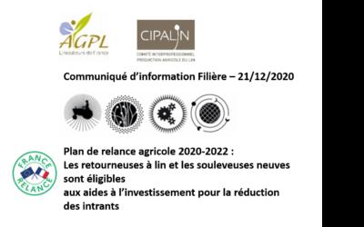 Flash Infos : Communiqué information Filière Plan de Relance